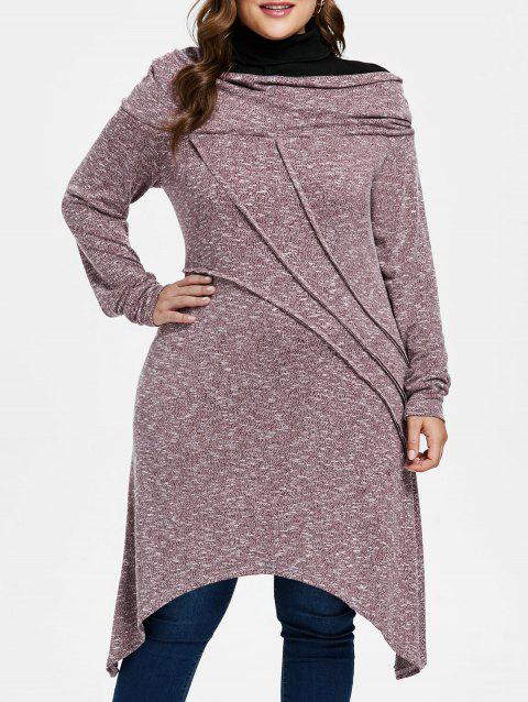 Plus Size Asymmetric Space Dyed Tunic Knitwear - VIOLA PURPLE 2X