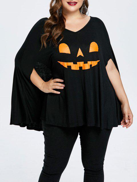 Plus Size Halloween Pumpkin Lamp Poncho T-shirt - BLACK 1X