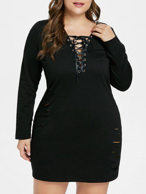 Plus Size Ripped Long Sleeve Dress - BLACK L