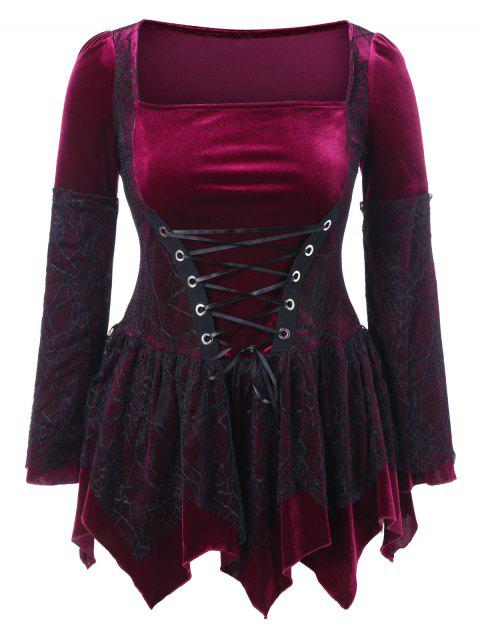 Plus Size Halloween Lace Up Peplum Top - RED WINE L