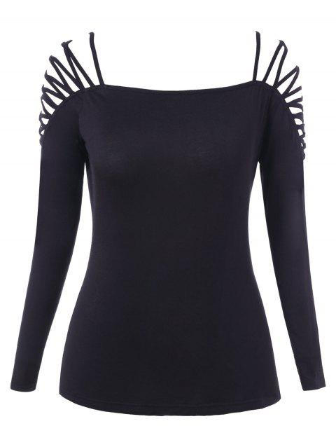 Plus Size Cut Out Plain T Shirt - BLACK L