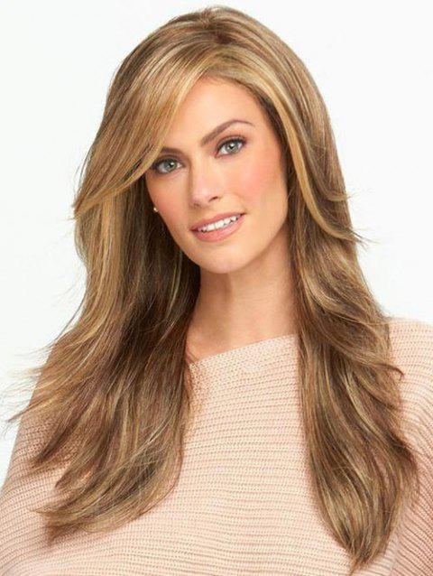 Long Side Fringe Colormix Straight Synthetic Wig - multicolor