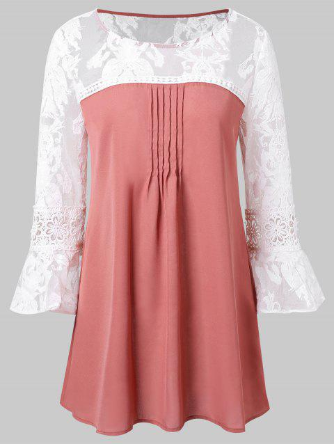 Lace Panel Flare Sleeve Blouse - BEAN RED XL
