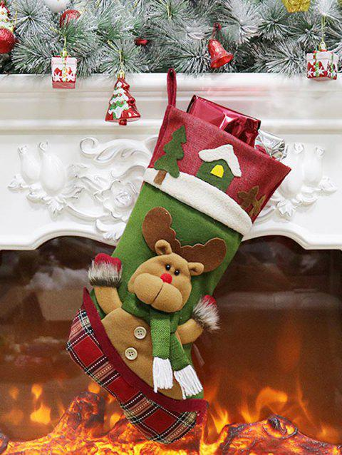 Christmas Tree Theme Elk Pattern Stocking Gift Decoration - BEETLE GREEN