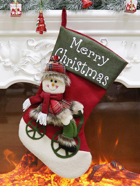 Merry Christmas Theme Snowman Hanging Stocking Decor - CAMOUFLAGE GREEN