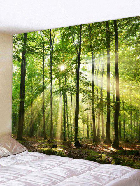 Sunshine Forest Tapestry Wall Art Home Decoration - PINE GREEN W91 X L71 INCH