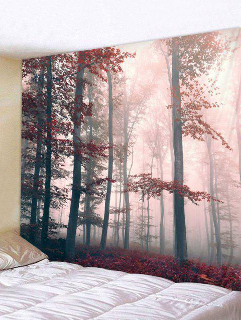 Forest Print Tapestry Wall Decoration - RED W91 X L71 INCH