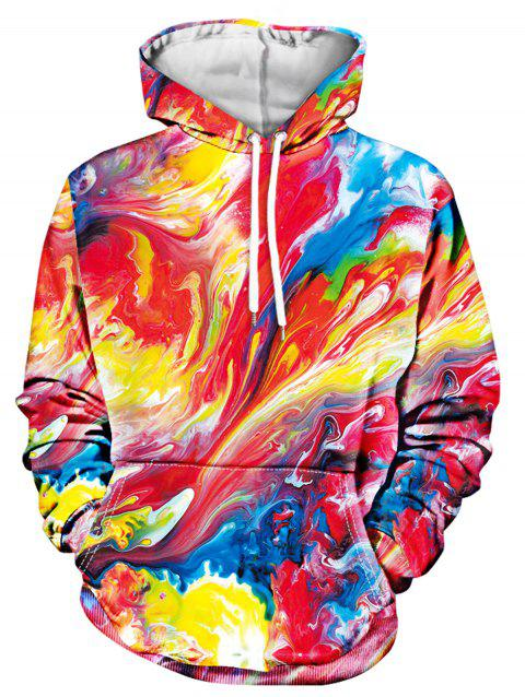 Drawstring Colorful Paint Long Sleeve Hoodie - multicolor 2XL