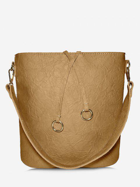 Round Hole Embellished Leisure Shoulder Bag - CAMEL BROWN