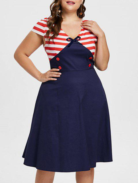 Plus Size Buttoned Cap Sleeve Flared Dress - DEEP BLUE 4X