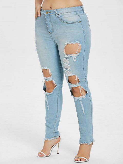 Plus Size Fitted Ripped Jeans with Pockets - DENIM BLUE 3X
