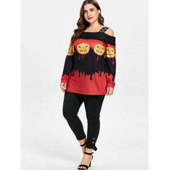 Plus Size Pumpkin Lamp Cold Shoulder T-shirt - multicolor 5X