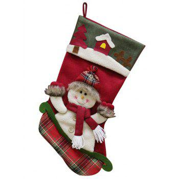Christmas Tree Theme Snowman Pattern Stocking Gift Decoration - CHESTNUT RED