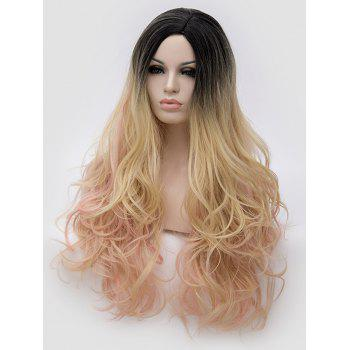 Long Side Parting Colormix Wavy Party Cosplay Synthetic Wig - multicolor