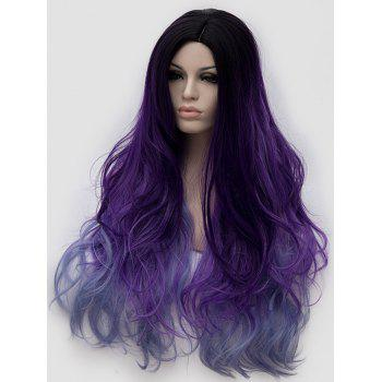 Long Side Parting Colorful Wavy Anime Synthetic Wig - multicolor