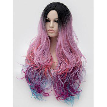 Synthetic Long Side Parting Colorful Wavy Rainbow Party Wig - multicolor
