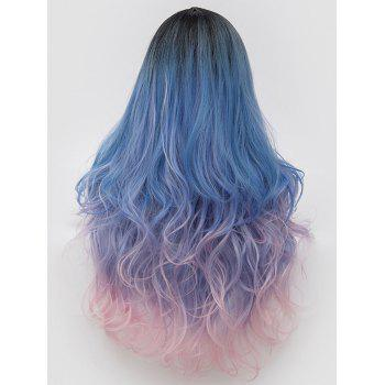 Long Side Parting Colorful Wavy Lolita Synthetic Wig - multicolor