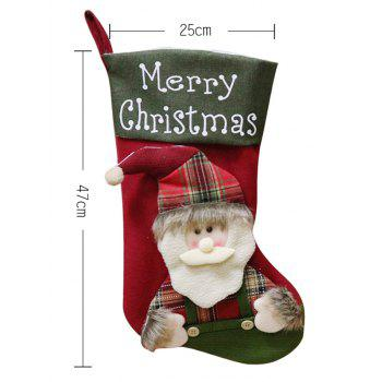 Christmas Theme Santa Claus Pattern Stocking Gift Decoration - BEETLE GREEN