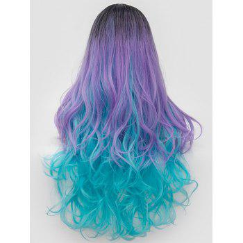 Long Side Parting Wavy Colorful Cosplay Party Synthetic Wig - multicolor