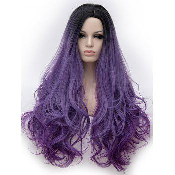 Long Side Parting Wavy Party Cosplay Colormix Synthetic Wig - multicolor