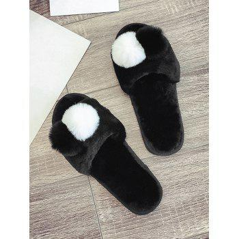 Faux Fur Balls Flat Slippers - BLACK EU 39