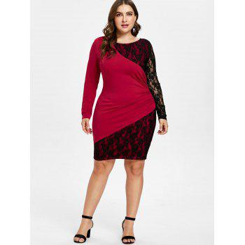 Long Sleeve Lace Panel Plus Size Knee Length Dress - RED 2X