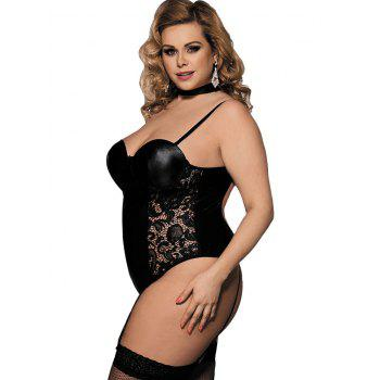 Underwire Plus Size Lace Panel Teddies - BLACK L
