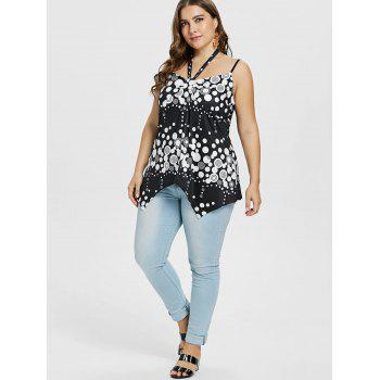 Plus Size Abstract Print Asymmetrical Top - BLACK L