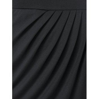 Plus Size Cutout Pleated Detail Overlap Dress - BLACK 2X