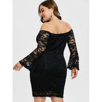 Off The Shoulder Lace Plus Size Dress - BLACK L