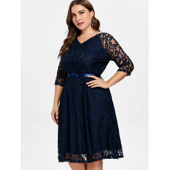 V Neck Plus Size Lace Dress - DEEP BLUE L