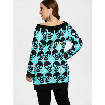 Plus Size Skull Print Tunic Top - MEDIUM TURQUOISE 2X