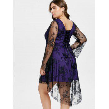 Plus Size Dip Hem Square Neck Dress - PURPLE AMETHYST 4X