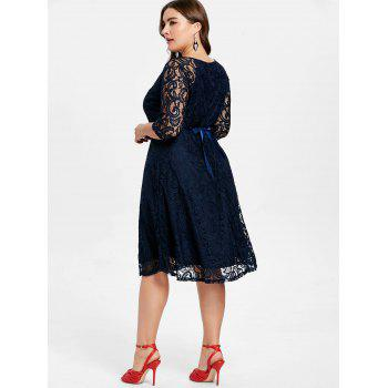 V Neck Plus Size Lace Dress - DEEP BLUE 3X