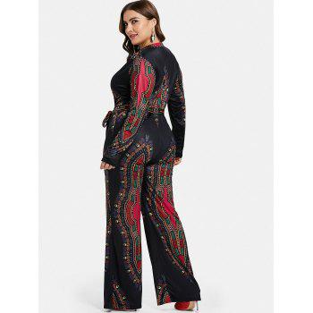 Plus Size Ethnic Pattern Jumpsuit with Belt - BLACK 1X