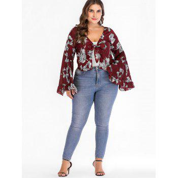 Bell Sleeve Floral Plus Size Blouse - RED WINE 2X