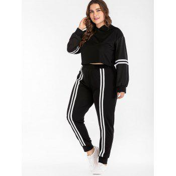 Plus Size Striped Sport Hoodie and Pants - BLACK 4X
