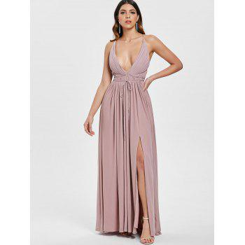 Backless High Slit Plunge Maxi Dress - PINK L