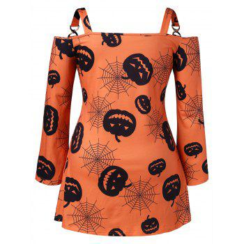 Halloween Plus Size Pumpkin Web Mini Dress - ORANGE 2X