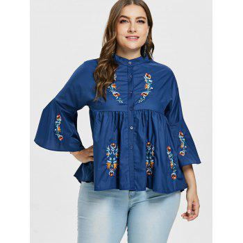 Plus Size Long Sleeve Embroidered Swing Blouse - DEEP BLUE 2X
