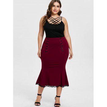 Plus Size Lace Trim Fishtail Skirt - RED WINE 5X