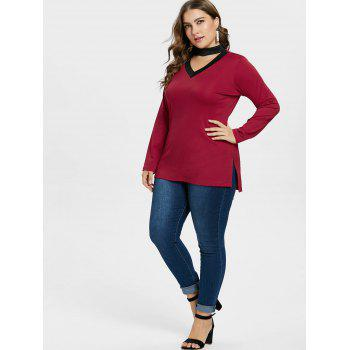 Plus Size Split Side V Neck Choker T-shirt - RED 2X