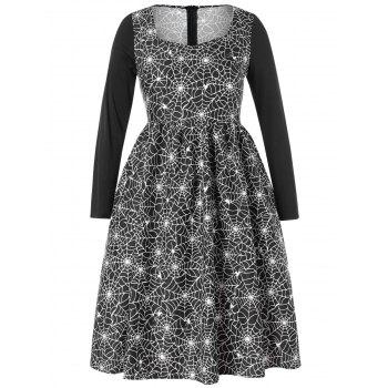 Plus Size Halloween Spider Web Vintage Dress - BLACK 1X