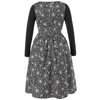 Plus Size Halloween Spider Web Vintage Dress - BLACK 5X