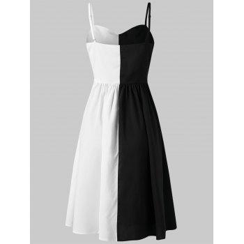 Hit Color Adjustable Thin Strap Dress - BLACK M