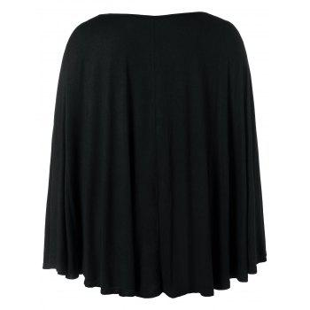 Plus Size Halloween Pumpkin Lamp Poncho T-shirt - BLACK 3X