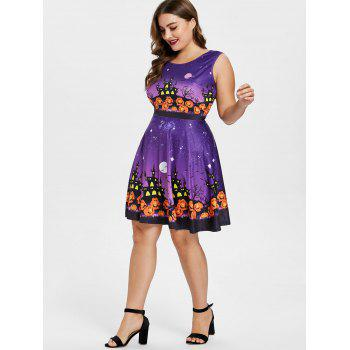 Sleeveless Pumpkin Lantern Halloween Plus Size Dress - PURPLE 3X