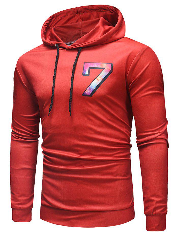 Number 7 Printed Drawstring Hoodie - RED XL