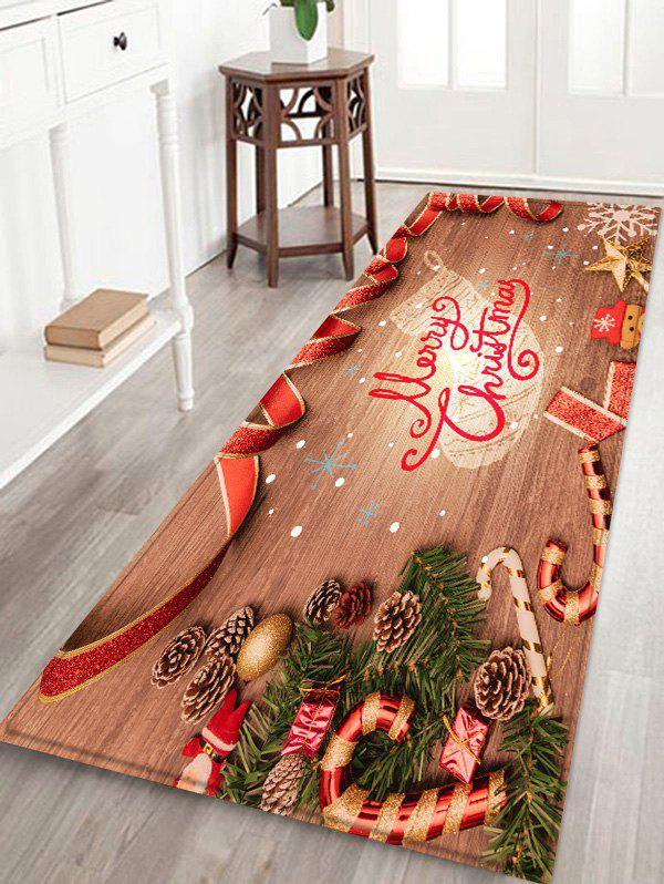 Christmas Wood Grain Pattern Anti-skid Flannel Area Rug - BURLYWOOD W16 X L47 INCH