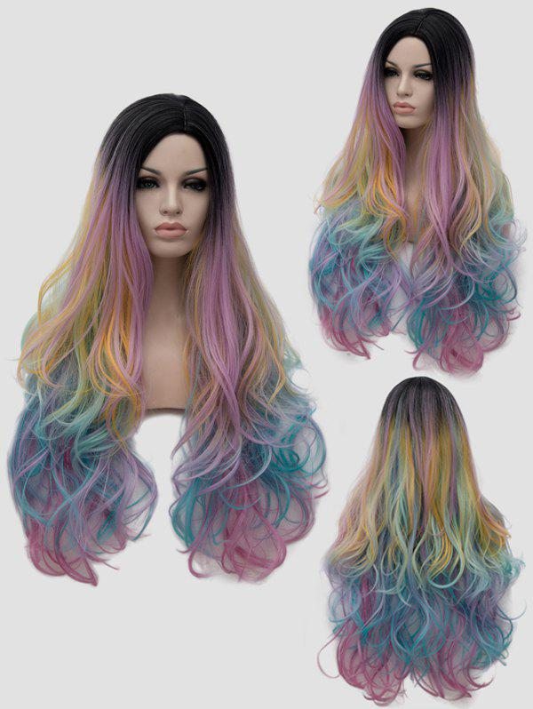 Long Side Parting Slightly Curly Colorful Rainbow Cosplay Synthetic Wig - multicolor